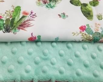 Crib Bedding Starter Set -  Cactus and Pink Arrows
