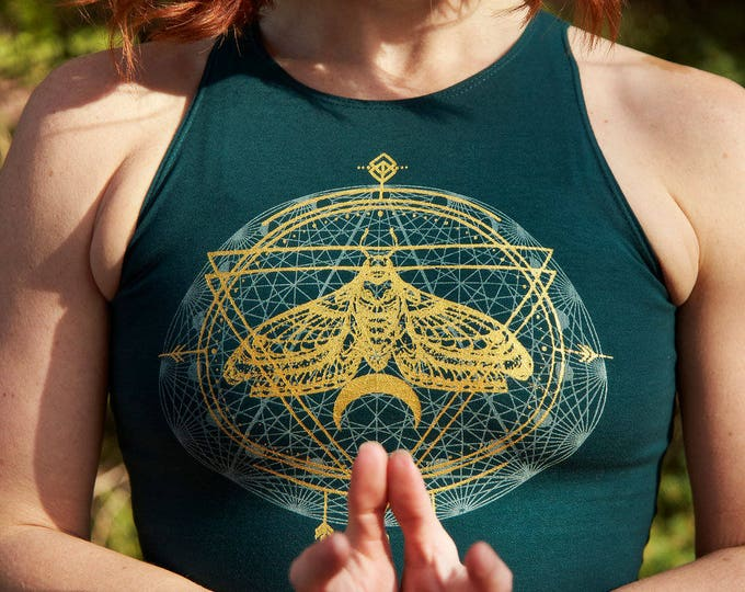 Moth Spirit Animal Fitted Crop Tank