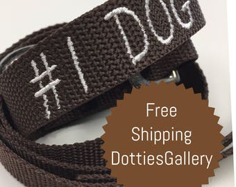 Dog Leash Brown Personalized with #1 DOG 4 Feet Long