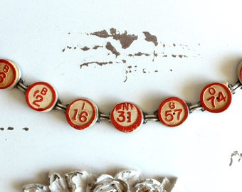 Bingo Bracelet Vintage wooden calling numbers game parts pieces toys jewelry retro recycled up cycled assemblage steampunk