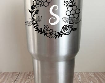 Personalized Bee Vinyl Decal for Yeti // Ozark Trail // RTIC Tumblers // Honey // Honeycomb Decal // Flower wreath decal