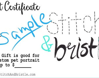 "Gift Certificate for 12x12"" Custom Pet Portrait (plain/single colored background)"