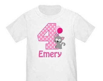 ON SALE Girl Pink Kitty Cat Personalized Birthday Shirt - ANY Age