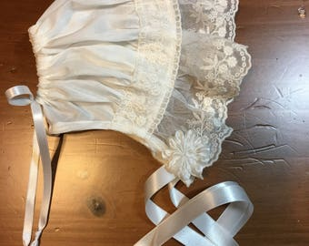 NB - 3 mo. Ivory Swiss and Lace Netting Baby Bonnet with Ruffle.