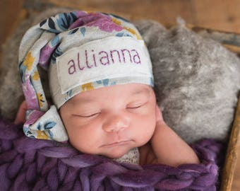 Baby hat with name - baby girl coming home outfit - newborn headband - baby gift - baby girl - hospital hat - newborn personalized hat