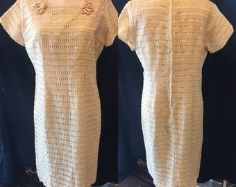 Vintage 1960 Creme lace dress medium large destination wedding 2nd marriage dress