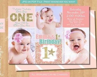 twinkle twinkle little star first birthday invites twinkle twinkle little star first birthday invitation 1st birthday invitation pink gold