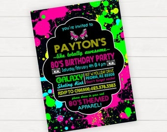 80s Birthday Invitations, 80's Birthday Invitations, 80s Birthday Invite, 80s Party Invitation, Skating Party Invitations, Roller Skating
