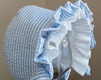 Baby Bonnet-Baby Hat- Blue and White
