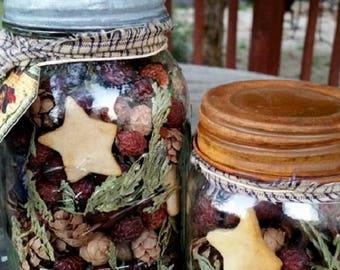 Primitive Rose hip Potpourri in rustic mason pint jar