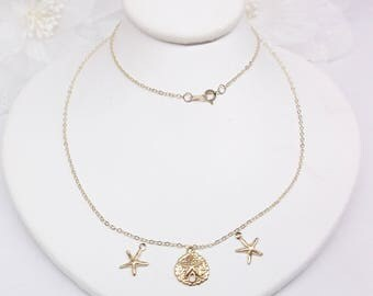 14kt Gold Beach Necklace 14kt Gold Starfish Necklace 14kt Gold Sandollar Necklace Beach Jewelry 14kt Gold Necklace BuyAny3+Get1 Free