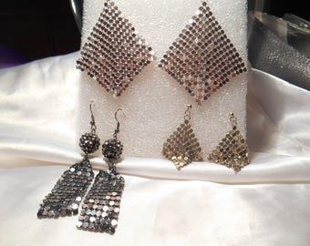 Retro Vintage Lot of Metallic Glimmer Glam Pierced Dangle Disco Earrings