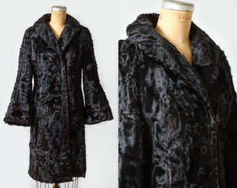 1910s Pony Fur Coat Edwardian Black Calf Fur German Made Satin Lined Bell Sleeve Overcoat