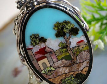 Statement Pendant Nostalgia Stone Mosaic Sterling Silver Jewelry