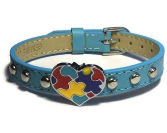 Autism Puzzle Heart Bracelet - 10mm Flat Leather Autism Bracelet - Studded Leather Autism Bracelet