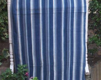 Indigo striped mudcloth, Mali mudcloth, Boglofini mudcloth, Indigo textile, Vintage mud cloth, Mali textile, striped mucloth