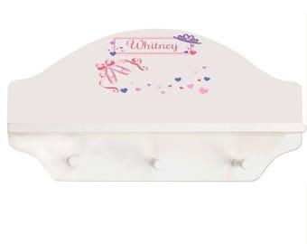 Personalized Ballet Princess White Three Peg Shelf Paste Recital Dance Tap Dancer Slippers Arts shel-whi-321
