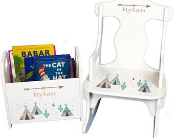 Personalized Puzzle Rocker and Book Caddy set with Coral TeePee Design-rknrd-242b