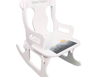 Personalized White Puzzle Rocking Chair with Misty Mountain Design-puzz-whi-245