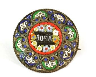 1950'S Italian Micromosaic Mosaic Roma Pin or Brooch - Souvenir of Rome