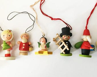 German Wooden Toy Ornaments / Vintage Wooden Christmas Ornaments / Old World Christmas / Lot of 7