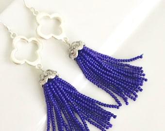 Blue Tassel Earrings, Cobalt Blue Tassel Earrings, Quatrefoil Earrings, Tassel Earrings, Dark Blue Tassel Earrings