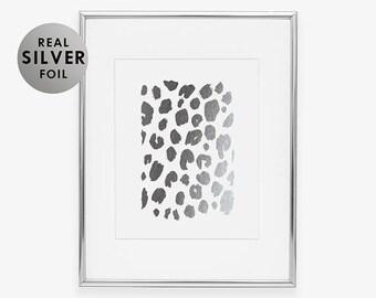 Silver Foil Print LEOPARD PRINT Tropical Fashion Print Leopard Print Modern Nature Poster College Graduation Office Poster B3