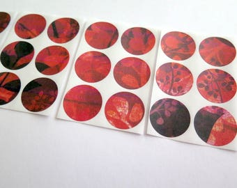 Stickers for papercrafts, set of 30, envelope seals, sticker set, red pink black