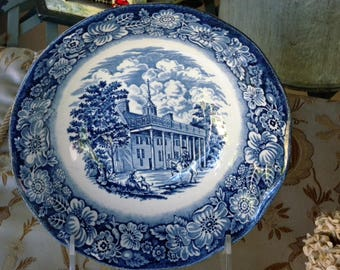 """Vintage Liberty Blue ~ """" Mount Vernon"""" Staffordshire Ironstone Made In England Bowl"""