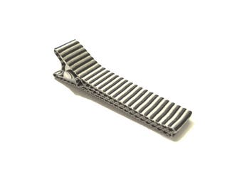 Brown Striped Clip, Infant Hair Clip, Striped Hair Clip, Hair Clip, Silver Striped Clip, Toddler Hair Clip, Little Girl Clip, Ready To Ship