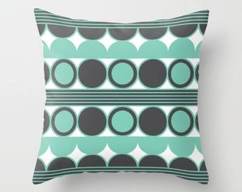 34 colours, Mid Century Modern Pillow, Lucite Green Geometric Circles, Charcoal Black pillow, Faux Down Insert, Indoor or Outdoor cover