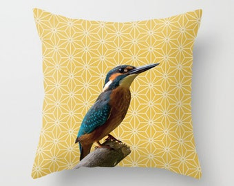 5 colours, Light Mustard, Kingfisher Photo Pattern Montage, Polygon Pattern, Birds, Nature pillow, Faux Down Insert, Indoor or Outdoor cover