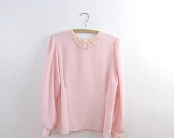 SALE Pearl Blush Beaded Blouse - Vintage 1980s Pink Embellished Top in Medium
