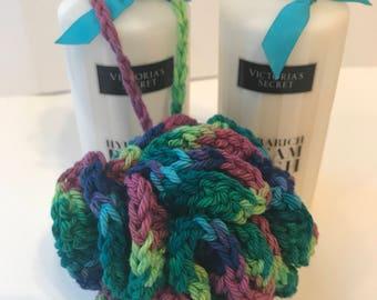 Handmade Multi-Color Crochet Bath Pouf gift under 10 gift basket idea made with 100% cotton yarn purple orange green blue
