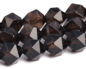 """8MM Coffee Smoky Quartz Beads Star Cut Faceted Grade AAA Genuine Natural Gemstone Loose Beads 15"""" BULK LOT 1,3,5,10 and 50 (103075-659)"""