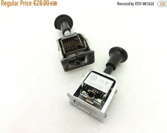 SALE 20% off Vintage pair numbering machine / stamps