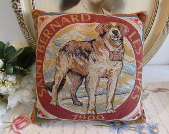 Vintage French quality tapestry style pillow / cushion of a dog St Bernard.  Country cottage chic