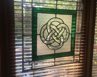 Celtic Knot stained glass window panel with beveled glass, dark green and clear stained glass