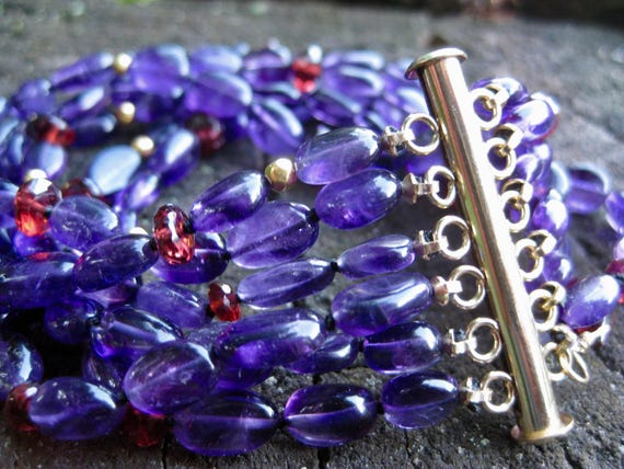APPOLINA  Six Strand Amethyst, Garnet & 18k Beads Cuff Bracelet