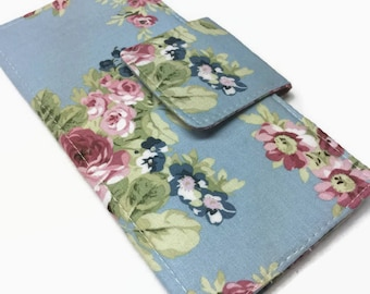 Credit Card Holder, Blue Floral Wallet, 12 - 38 credit card Holder, Anne of Green Gables, Card Holder, Small Card Holder, Credit Card Organi