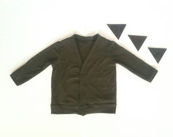 Olive green cardigan boys girls modern child sweater light jacket