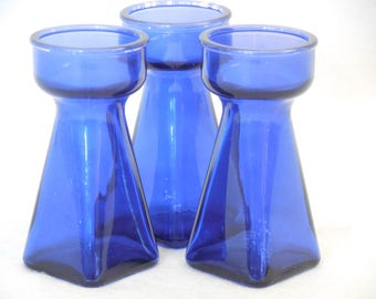Cobalt Bulb Forcing Vase, Square Bottom, EUC, Crocus Vase