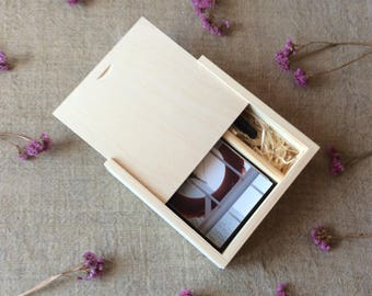 "2 x Wood photo box / 4"" x 6"" prints box / box for photos and usb flash drive / wedding photo box"
