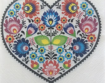 5 decoupage napkins, Polish folk pattern napkin, decoupage serviette, floral heart, folk flowers, diy paper craft, collage paper