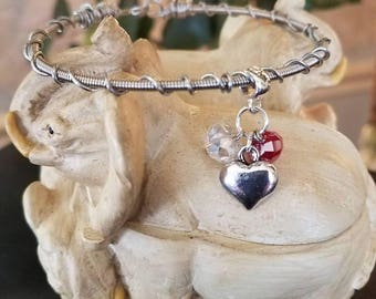 Guitar String Bracelet with Heart & Crystals