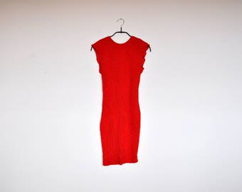 Vintage Lipstick Red Crinkled Stretchy Bodycon Open Back Mini Dress