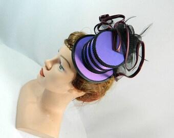 Minihat purple Gothic Burlesque Fascinator Derby Cocktail Church Formal Wedding Hat Prom Gown Bibi Chapeau Cappelli Voilette Headpiece