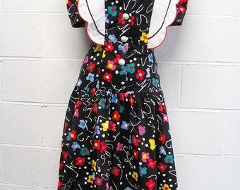 VTG 80s Crazy Floral Bibbed Midi Dress