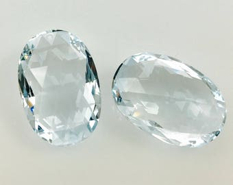 FINAL Sale 1 pair lab stoned sky blue topaz 25x17 mm  rose cut both sides drilled top