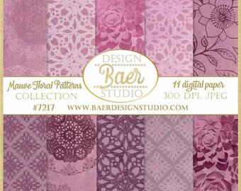 Digital Paper Vintage:Mauve Digital Paper, Digital Paper Floral, Succulent Digital Paper, Plum Digital Paper, Purple Digital Paper